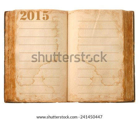 Old open book and empty pages 2015.  - stock photo