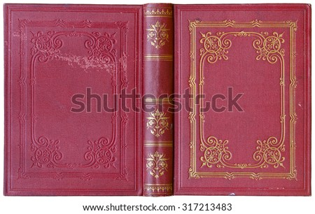 Old open book cover - circa 1885 - isolated on white - stock photo