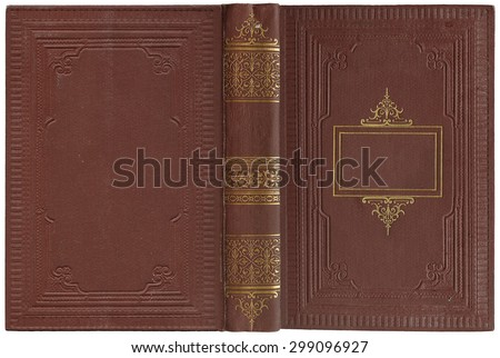 Old open book cover - circa 1900 - isolated on white - perfect in detail - XL size - stock photo