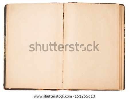 Old open book on white background. - stock photo