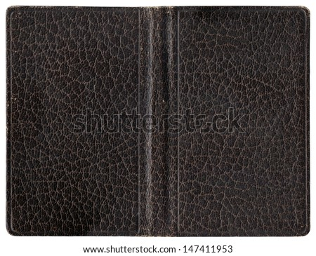 Old open book or diary - leather cover - isolated on white - perfect in detail! - XL size - stock photo