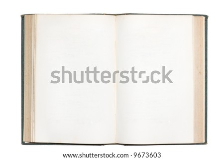 Old open book with blank pages isolated on white - stock photo