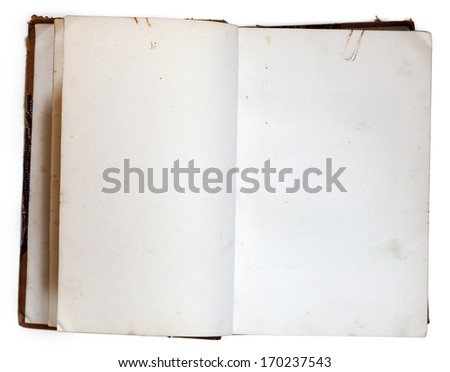 Old open book with blank pages isolated on white with clipping path - stock photo