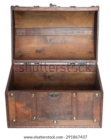 Old open chest isolated on white background. - stock photo