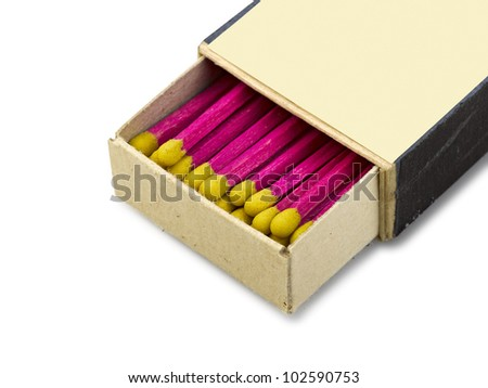 Old open Matchbox isolated, clipping path - stock photo