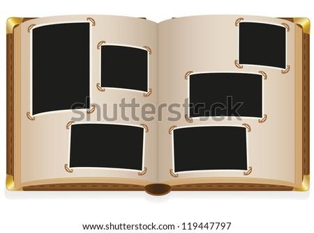 old open photo album with blank photos illustration isolated on white background - stock photo