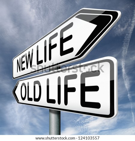 old or new life fresh start or beginning choose change - stock photo