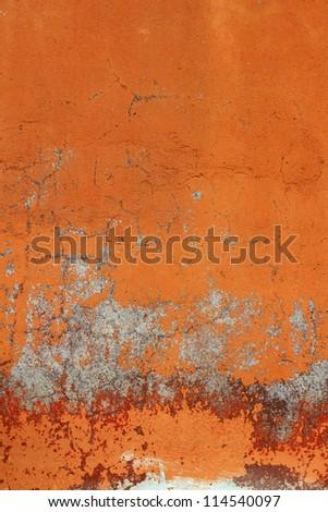 Old orange concrete wall - stock photo