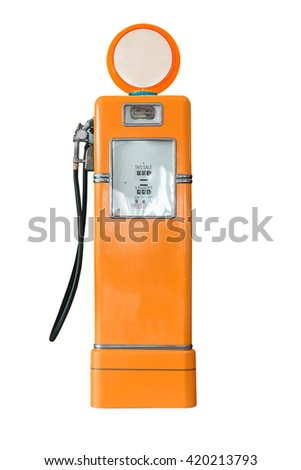 Old orange petrol gasoline pump isolate on white background - stock photo