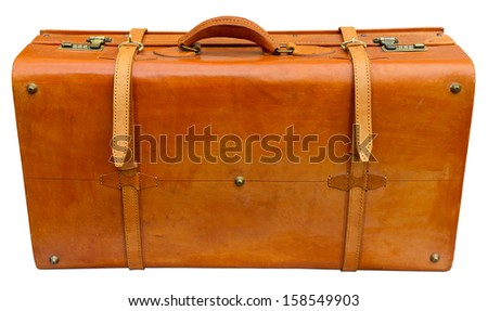 Old orange suitcase isolated on white. Clipping path included. - stock photo