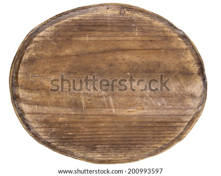 old oval wooden plaque isolated on white background - stock photo