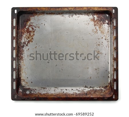 Old oven baking tray isolated on white - stock photo