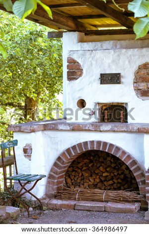 old oven in the garden - stock photo