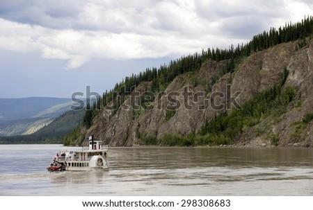 Old paddle boat on Yukon River, Canada - stock photo