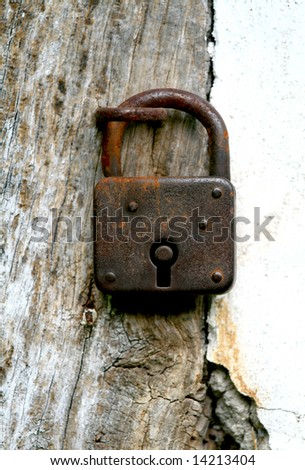 Old padlock - stock photo