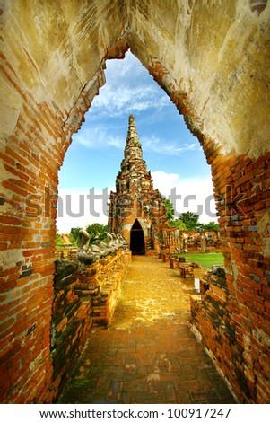Old pagoda at wat Chaiwatthanaram, Thailand - stock photo