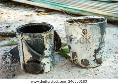 old paint cans - stock photo