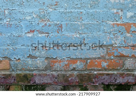 old painted brick wall texture - stock photo