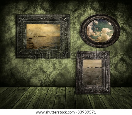 old painting on wall - stock photo