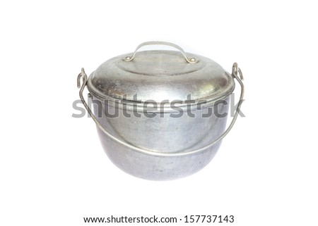 Old pan isolated on white background - stock photo