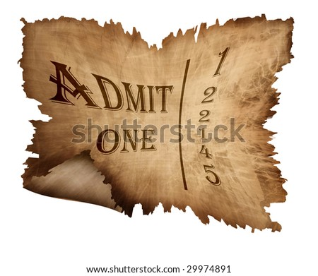 Old paper admission ticket isolated on white background - stock photo