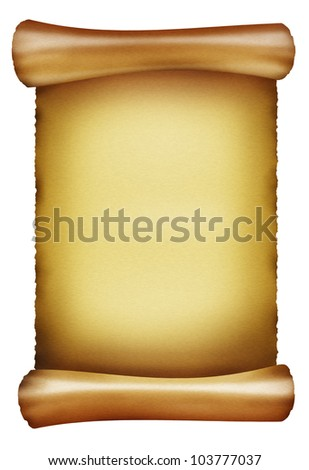 Old paper. Antique scroll on white background - stock photo