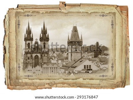 Old paper background with view of Prague - stock photo