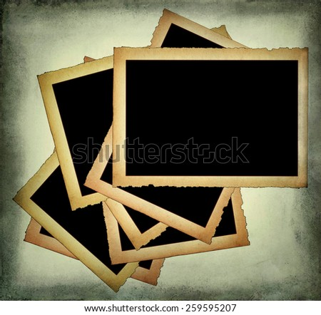 Old paper frames with frayed edges on dirty background - stock photo