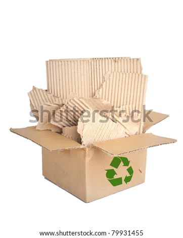 old paper in a recycled shipping box. - stock photo