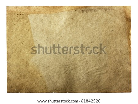 old paper isolated on white background with clipping path - stock photo