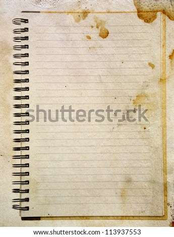 Old paper notebook right page - stock photo