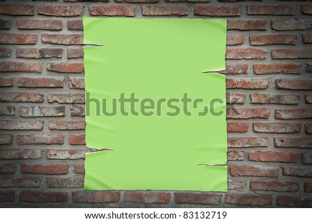 old paper on brick wall, clipping path. - stock photo