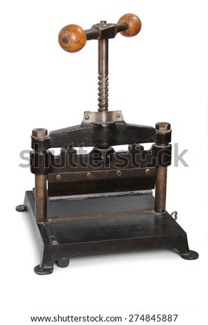 old paper press isolated in white background - stock photo