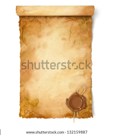 Old paper scroll with wax seal. Conceptual illustration. Isolated on white background. 3d render - stock photo