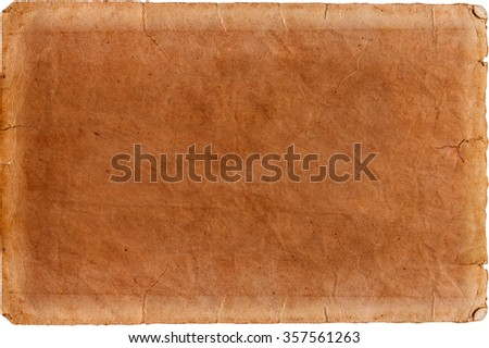 Old paper sheet isolated on the white background - stock photo
