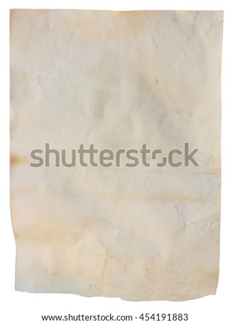 Old paper sheet, Vintage aged old paper, dirty paper isolated background or texture. - stock photo