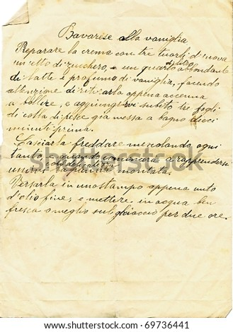 Old paper sheet with a recipe in Italian written by hand - stock photo