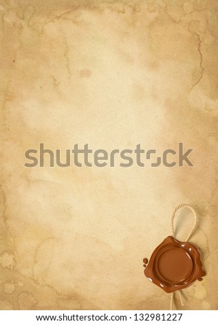 Old paper sheet with wax seal. Conceptual illustration - stock photo