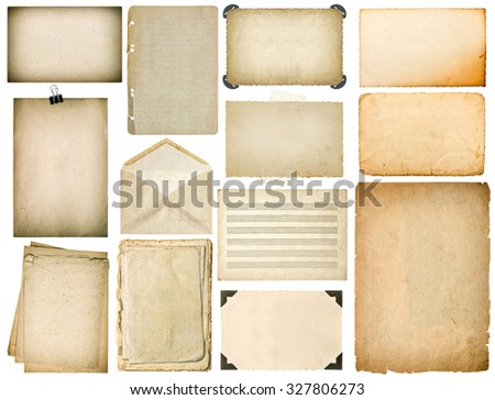 Old paper sheets with edges. Vintage book pages, cardboard, music notes, photo frame with corner, envelope isolated on white background - stock photo