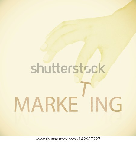 Old Paper texture ,Hand made marketing word - stock photo