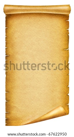 Old paper texture.Scroll background for design on white. - stock photo