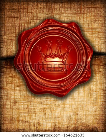 old paper texture with a royal wax seal on it - stock photo