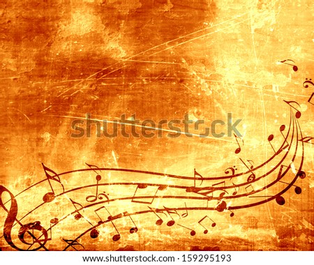 old paper texture with some music notes on it - stock photo