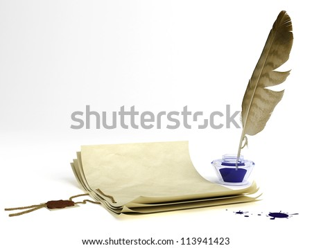 Old paper with a wax seal and quill pen - stock photo