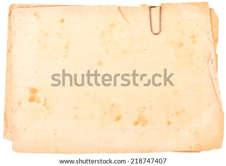 old paper with clip isolated on white background - stock photo