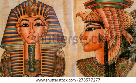 Old Paper With Egyptian Queen Cleopatra and sphinx - stock photo