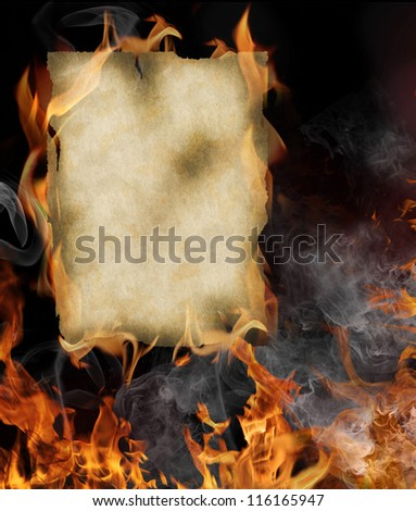 Old paper with fire flames - stock photo