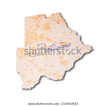 Old paper with handwriting, blue ink - Botswana - stock photo