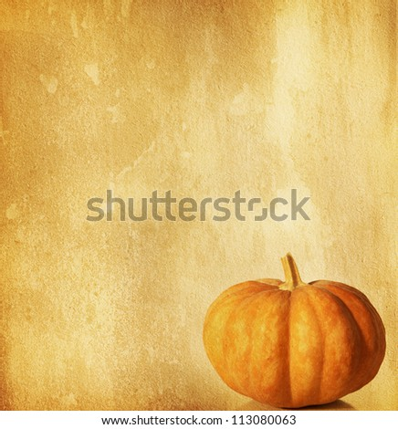 old paper with pumpkin - stock photo