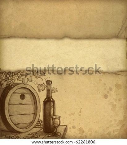 Old paper with sketch of wine bottle - stock photo